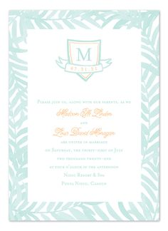 Watercolor Palms [Choose your colors] - Wedding Invitations by Invitation Consultants