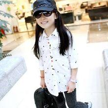 Весна и лето дети рубашки одежда из хлопка девушки рубашки полиграфический дизайн одежды(China (Mainland))