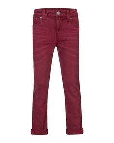 JONGENS SLIM FIT BROEK Donkerrood