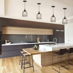 Grid Metal adjustable 1 Light Pendant Light Kitchen lighting design done right can make a big difference in enjoying your kitchen. Kitchen Lighting Design, Kitchen Room Design, Home Decor Kitchen, Interior Design Kitchen, Home Design, New Kitchen, Home Kitchens, Design Ideas, Kitchen Ideas