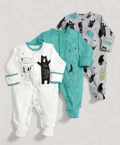 Boys Essentials Three Pack of Bear Hugs All in Ones - All In Ones - Mamas & Papas