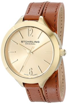 Stuhrling Original Women's 568.04 Analog Deauville Sport Swiss Quartz 23K Gold Plated Brown Genuine Leather Wrap Around Strap Watch >>> More info could be found at the image url.