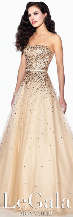 Champagne Prom Dress by Le Gala by Mon Cheri style 116517 #promdresses