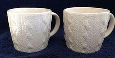 Starbucks 2008 Cable Knit Sweater Mug Aran Off White Set of 2 Free Shipping #Starbucks