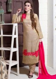 Party Wear Jute Silk Beige Embroidered Work Straight Suit