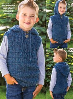 Knitting for children Children's hooded vest crochet pattern free - fit child's size changes for sizes 8 and 10 are in [ ]. Need fantastic helpful hints regarding arts and crafts? Head out to my amazing site! Boy Crochet Patterns, Crochet Vest Pattern, Crochet Poncho, Free Crochet, Crochet Vests, Free Pattern, Knitting Patterns, Sweater Patterns, Crochet Mittens
