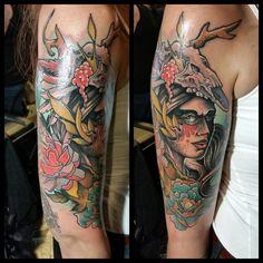 Kapow! #tattoo #tattoos #RhodeIsland #providence #Warren #tattoo #1001troubles #freddcheeto #tattooshop #moiriders #freddcheetham #flowers #flower #flowertattoo #girlswithtattoos #illustration #fineart #drawing #ladyofthehunt #deerhunter #holland #dutch