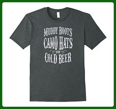 Mens Muddy Boots Camo Hats Cold Beer Country Music T-Shirt Gift XL Dark Heather - Food and drink shirts (*Amazon Partner-Link)