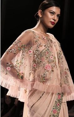 Asifa And Nabeel, Cape Designs, Cape Jacket, Everything Pink, Saree Blouse, Cute Dresses, Wedding Stuff, Ruffles, Casual