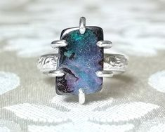 Australian Boulder Opal and Sterling Silver Ring - Ready to Ship Ring - Gift for Wife - October Birthstone Jewelry - Girlfriend Gifts Boho Engagement Ring, Diamond Quartz, Boho Rings, Pink Blue, Blue Green, Yellow, Gifts For Wife, Sterling Silver Rings, Opal