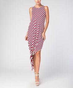 Another great find on #zulily! Burgundy & Off-White Stripe Asymmetrical Dress #zulilyfinds