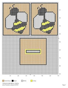 Bee Tissue Cover Plastic Canvas Coasters, Plastic Canvas Tissue Boxes, Plastic Canvas Crafts, Plastic Canvas Patterns, Tissue Box Holder, Tissue Box Covers, Cross Stitch Charts, Cross Stitch Patterns, Bee Embroidery