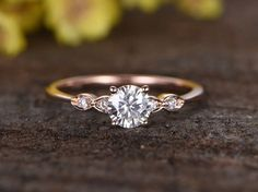 0.5 Carat Round Moissanite Engagement Ring Diamond 14k Rose Gold Three Stone Stacking Band