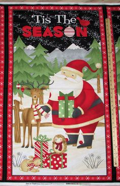 "Santa & Friends Tis the Season Debbie Mumm Christmas Fabric Panels 23""…"