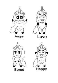 Unicorn Emoji Angry Bored Happy Love coloring page Emoji Coloring Pages, Birthday Coloring Pages, Love Coloring Pages, Mermaid Coloring Pages, Coloring Sheets For Kids, Mandala Coloring Pages, Unicorn Emoji, My Little Pony Unicorn, Free Printable Coloring Sheets