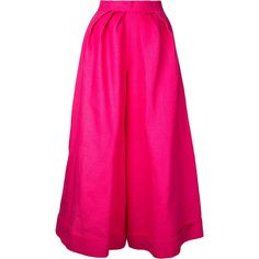 Delpozo pleated detail palazzo trousers ($1,959) ❤ liked on Polyvore featuring pants, linen trousers, pink pants, pink linen pants, pleated linen pants and delpozo
