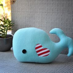 Oh My Cuteness! If it's a boy! - Whimsical Light Blue Plush Whale by CarrotFever on Etsy, $15.00