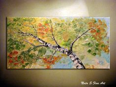 "Original Landscape Painting.Abstract Textured Painting.Sky,Birch Tree Painting.Large artwork.Wall Decor 48"" - by Nata.....MADE to ORDER"