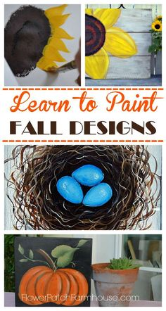 Fabulous painting lessons for Fall Decor.  Paint them on pillows, signs or canvas.  Easy and FUN!  http://FlowerPatchFarmhouse.com