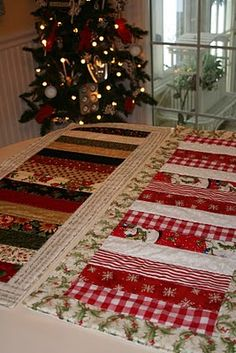 Lots of fabric can be used up to make table runners.  How about one for each season?  What a fun gift to receive!