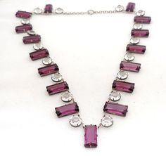 Art Deco Jewelry: Vintage Sterling Silver and Faceted Crystal Necklace