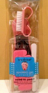 Spa Girl Spoiled Girl 8 Piece Pedicure Set Pink by Spa Sister. $5.99. Spa Sister's Spoiled Girl pedi set includes all the essentials: foot file, nail brush, cuticle sticks, emery boards and toe separators. And all in glorious pink1