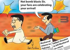 Musharraf Return Cartoon