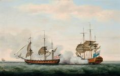 The East India Company's ship Bridgewater successfully defending her cargo from an attack by the American privateer Hampden on her way from St. Helena to England on 8th March 1779, Francis Holman (Ramsgate 1729-1790 Wapping)