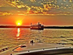 The Grand Belle Sunset at Lake Geneva, Wisconsin. Lake Geneva Cruise Line's excursion boats.