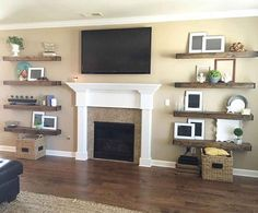 Fabulous Cool Ideas: Floating Shelves Decoration Living Room floating shelf with hooks wood shelves.Floating Shelf With Hooks Wood Shelves floating shelves with lights bar areas.Floating Shelves With Pictures Small Kitchens. Diy Home Decor Rustic, Diy Home Decor Projects, Farmhouse Decor, Modern Farmhouse, Farmhouse Design, Farmhouse Style, Bookshelf Entertainment Center, Fireplace Bookshelves, Decorating Bookshelves
