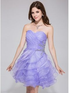 A-Line/Princess Sweetheart Short/Mini Beading Cascading Ruffles Zipper Up Strapless Sleeveless Lavender Spring Summer Fall General Organza Homecoming Dress