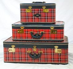 A tartan, red plaid luggage set for running away.to Scotland! Scottish Plaid, Scottish Tartans, Vintage Suitcases, Vintage Luggage, Tweed, Hat Boxes, Tartan Plaid, Tartan Decor, My Favorite Color