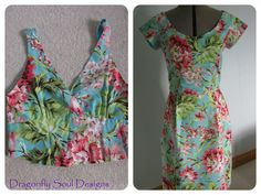 I recycled a dress that I made 4 years ago from Amy Butler's beautiful Bliss Bouquet fabric - the original dress (remaining bodice shown on left) had a calf length full skirt and the style just didn't suit me.  So, I cut it up and re-made it as a fitted shift dress - image on right - which looks fabulous!