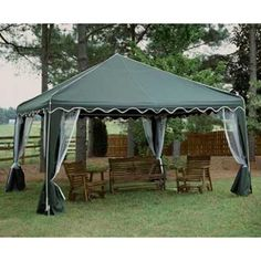 King Canopy Garden Party Frame Canopy  sc 1 st  Pinterest & 12x12 Ft. Northwest Territory Green u0026 White Outdoor Dining Canopy ...