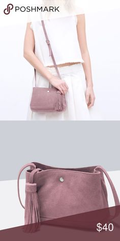 """Zara Genuine Leather Bag BNWT. Beautiful pale pink color. Compartments inside the bag. About 7"""" length and across and 6"""" going down. Zara Bags Crossbody Bags"""