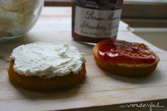 Mini Victoria Cakes with fresh whipped cream and Bonne Maman Strawberry Preserves