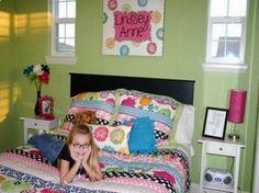 Bedroom Design. Teenagers Tween Room Ideas: Green Wall Paint Black ...