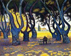 Plane Trees, Place des Lices, Saint-Tropez, Opus 242, Oil On Canvas by Paul Signac (1863-1935, France)