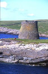 "BROCH: an Iron Age drystone hollow-walled structure of a type found only in Scotland. Brochs include some of the most sophisticated examples of drystone architecture ever created, and belong to the classification ""complex Atlantic Roundhouse"" devised by Scottish archaeologists in the 1980s."