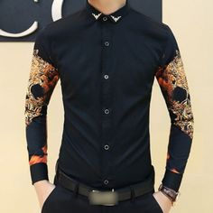 $20 Men-Trendy-Precious-Gothic-Rock-Skull-Print-Slim-Fit-Stylish-Casual-Dress-Shirt