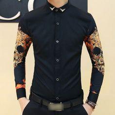 $20 Men-Trendy-Precious-Gothic-Rock-Skull-Print-Slim-Fit-Stylish-Casual-Dress-Shirt