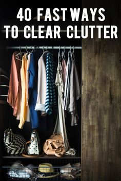 We're all busy and sometimes cleaning is the last thing on our minds. I get it. But when we have less things, there's less to clean. That's why it's important to periodically weed clutter from our lives. Taking the time to clear clutter can be time consuming, but if we do just a little bit each day, we'll have less stuff in no time. Here's 40 fast ways I've found to clear clutter.