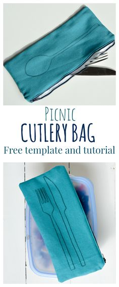 Love making picnics? Need a way of taking cutlery with you? DIY Cutlery Bag, full tutorial with downloadable print - use freezer paper to create image