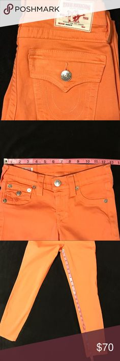 True Religion Brooklyn Jeans Color is Papaya.  Size is 24. Great used condition.  Measurements shown as guide, not guarantee of fit. Front faux pockets True Religion Pants