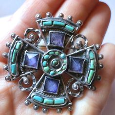 MATL Matilde Poulat Mexican Sterling Amethyst Turquoise Maltese Cross