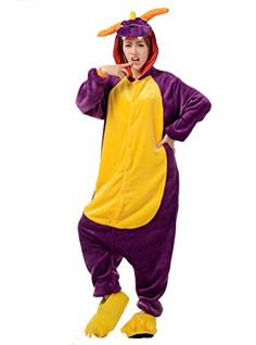FashionFits Unisex Jumpsuit Onesie Purple Dragon Pajamas Animal Cosplay Costumes L >>> To view further for this item, visit the image link.