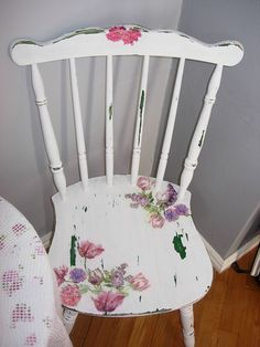 Shabby chic chair, decoupage, flowers on furniture, decoupage on furniture, distressed furniture, diy (Shabby Chic Diy Furniture)