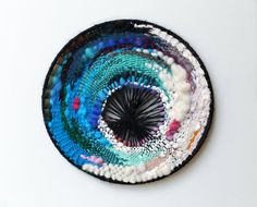 round woven wall hanging weaving by CathyMcMurray on Etsy
