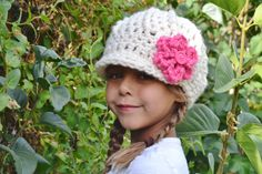 Girl Winter Hat Newsboy Hat Cream with Pink Flower by SoLayna