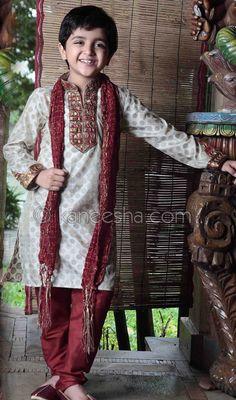 Off white jacquard readymade kurta pajama. Kids Indian Wear, Kids Ethnic Wear, Kids Kurta Pajama, Sari Shop, Boys Kurta Design, Ethnic Outfits, Ethnic Clothes, Indian Outfits, Indian Wedding Fashion